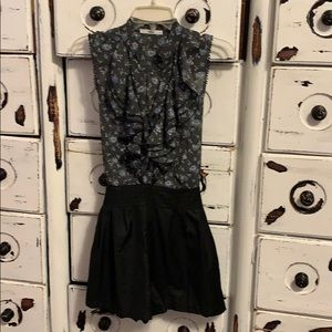 ROMPER BLUE SHEER TOP AND BLACK SHORTS